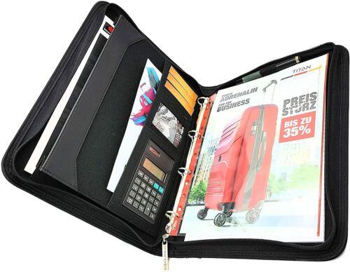 Ringbuchmappe Schreibmappe Polyestergewebe robust A4 Block /& Solartaschenrechner