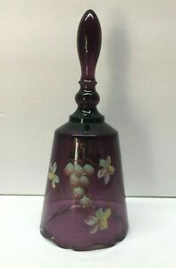Fenton-Signed-Hand-Painted-Amethyst-Purple-6-3-4-034-Glass-Bell-J-Cunningham