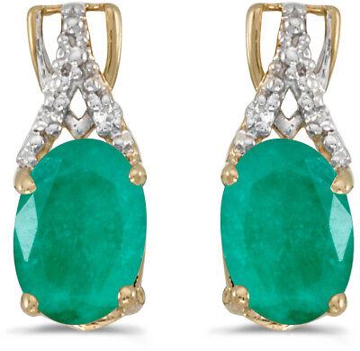 14k Gelbgold Ovaler Smaragd Und Diamant Ohrringe (cm-e2620x-05)