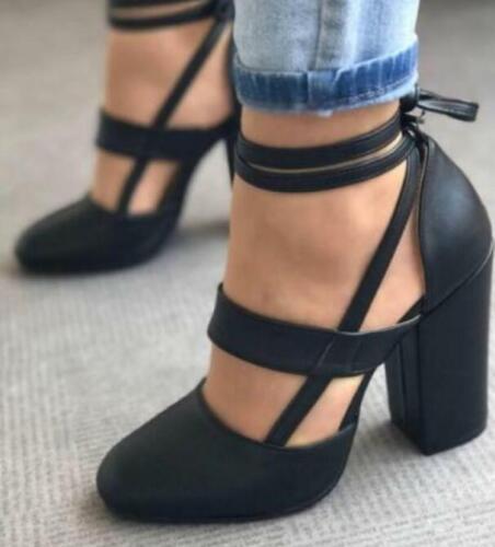 Party Damenschuhe Rund Zehe Mode Kunstleder Blockabsatz Schnuerpumps GR35//43