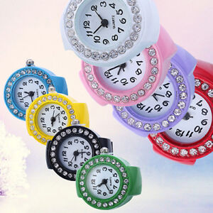 Fashion Women Girl Round Rhinestone Elastic Quartz Finger Ring Watch Natural