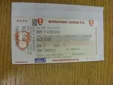 04/01/2003 BIGLIETTO: Rotherham United V Wimbledon FA Cup [] (MAIN STAND, complimento