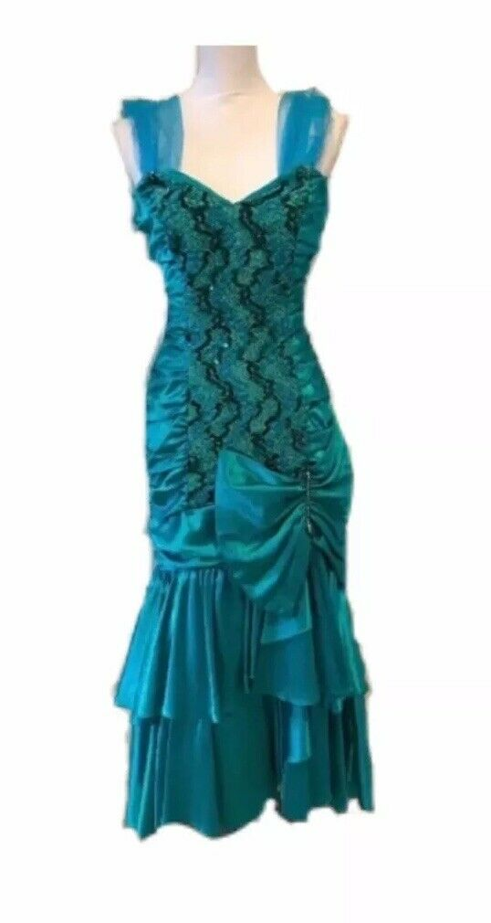Vintage 80s Mermaid Bow prom party dress Sequin Glam ZUM ZUM 7-8 Junior XS Reg