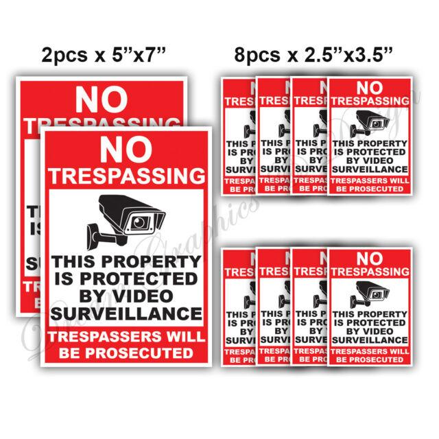 10x CCTV Video Surveillance Security Camera Alarm Video Sticker Warning Decal 03