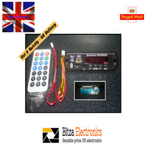LED de Coche Bluetooth Módulo de audio de Placa Decodificador MP3 WMA USB SD FM Radio Control Remoto Reino Unido  </span>