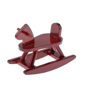 1//12 Dollhouse Miniature Cockhorse Wooden Rocking Horse Baby Room Accessory