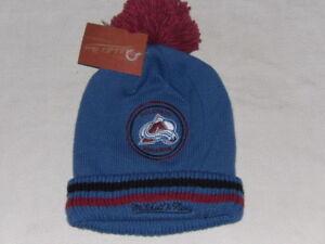 NHL Colorado Avalanche Adult Beanie Sport Pom Knit Cap Mitchell & Ness NWT