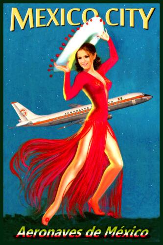 Mexico City Aeronaves de Mexico Airline Pinup Poster Airplane Art Print 084