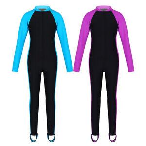 Kids-Boys-Girls-Zipper-Up-Swimsuit-Long-Sleeve-Swimwear-Surfing-Bathing-Suit
