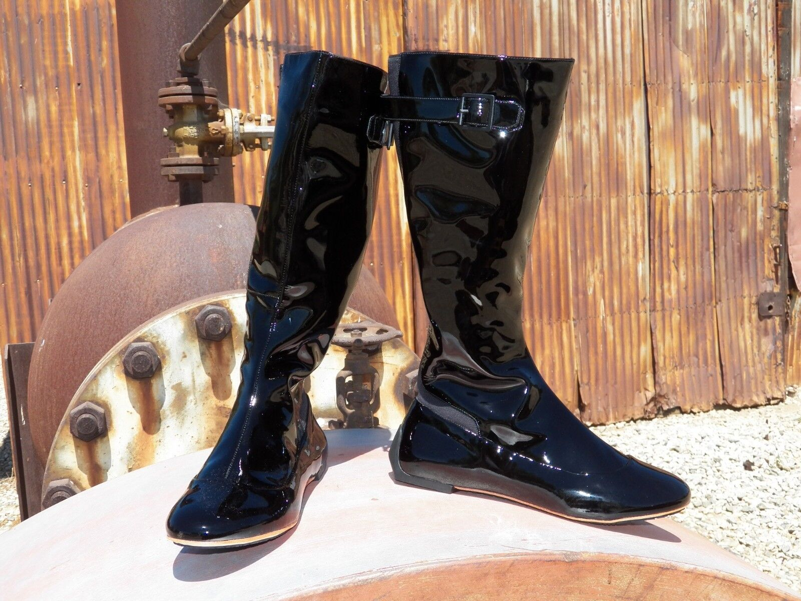 New Womens Tsubo Meroe Black Patent Tall Leather Boots All Sizes