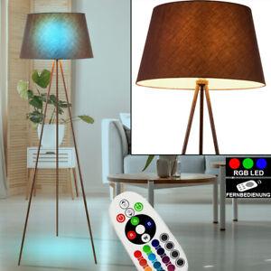 RGB LED Schreib Tisch Lampe Holz Arbeits Zimmer Stoff Leuchte FERNBEDIENUNG