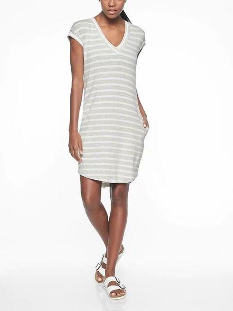 bda72a7278205 NWT  89 ATHLETA Newport Sweatshirt Dress Light Grey Heather Stripe Sz Small  S