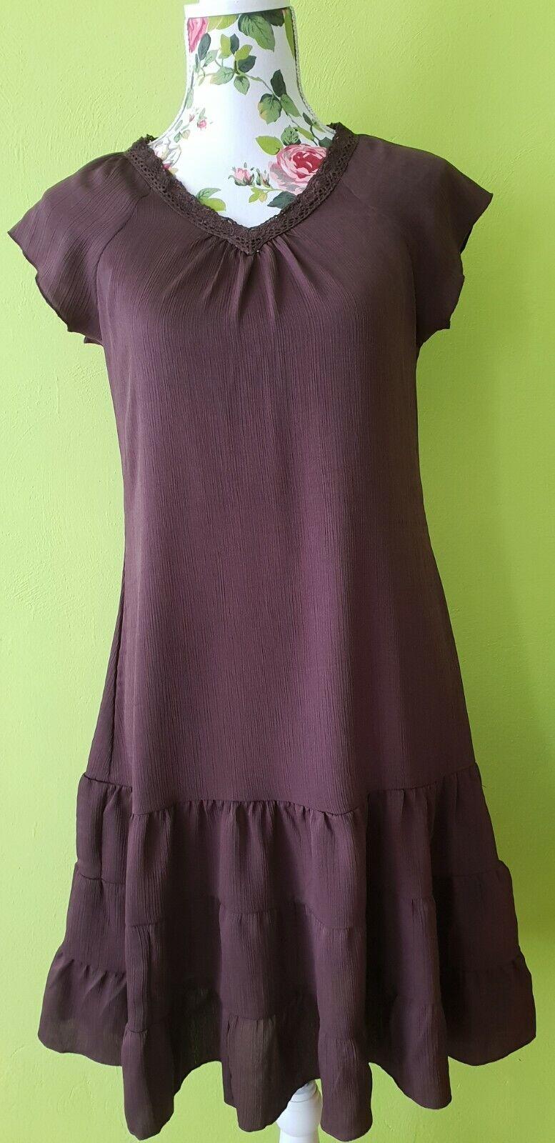Ladies Mini Dress Brown Lace Size 36