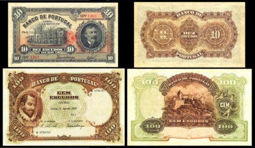 !COPY! PORTUGAL 10 ESCUDOS 1923 + 100 ESCUDOS 1920 BANKNOTES !NOT REAL!