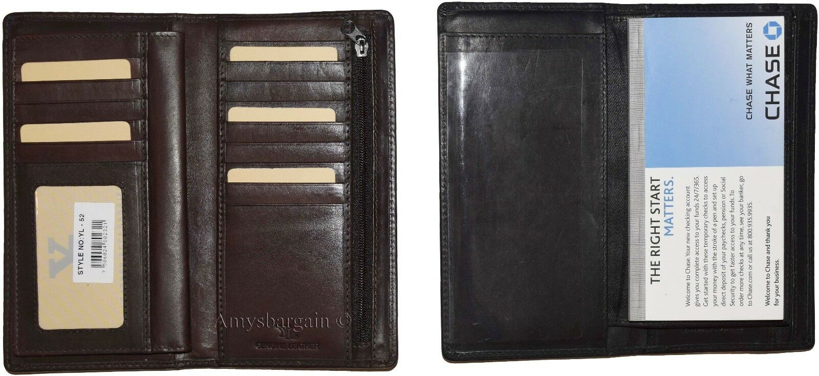 New Leather check wallet Unbranded checkbook cover credit card change purse BNWT