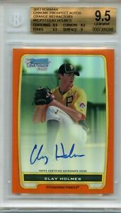 2012-Bowman-Chrome-Prospects-Autographs-Orange-Refractor-Clay-Holmes-BGS-9-5-10