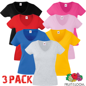 3-Pack-FRUIT-OF-THE-LOOM-T-SHIRT-V-Neck-Lady-Fit-COTONE-LYCRA-TOP-xs-2xl-Donna