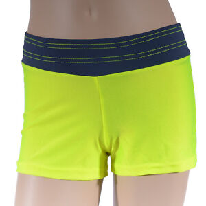 Girls-Fluro-Yellow-Grey-Bike-Shorts-Girl-039-s-Athletics-Active-Dance-Gymnastics