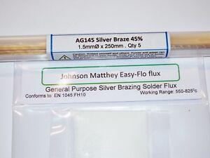 SILVER-BRAZING-SOLDER-amp-FLUX-KIT-45-Silver-AG145-x-5-rods-amp-JM-Easy-flo-flux