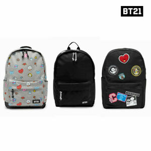 BTS-BT21-Official-Authentic-Goods-BackPack-Gray-Pattern-Black-Pattern-Black