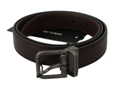 36in RRP $320 90cm DOLCE /& GABBANA Belt Brown Calfskin Leather Metal Buckle s
