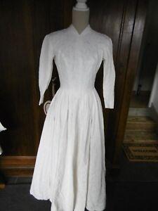 Robe de mariée vintage année 60 coton blanc