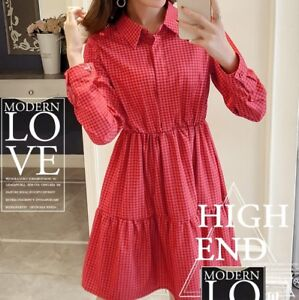H-amp-M-BLACK-RED-CHECKED-GINGHAM-FLOUNCE-FRILLED-SHIRT-COTTON-DRESS-4-6-8-10-12