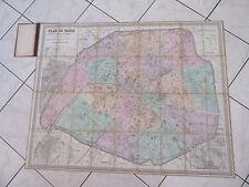 PLAN DE PARIS 1876 ENTOILE EN COULEURS andriveau goujon