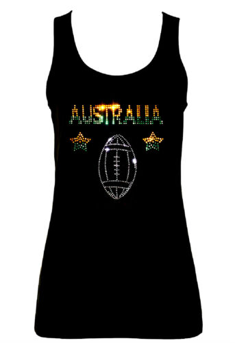 all sizes 8 to 16 AUSTRALIA RUGBY SPORTS  VESTS TANK TOPS WITH RHINESTUDS