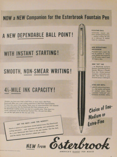 1956 Esterbrook Extra Fine Point Fountain Pens Writing Instruments Print Ad