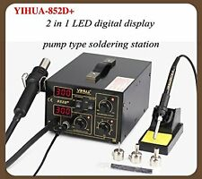 2 in 1 Soldering Rework Stations SMD Hot Air & Iron Gun Desoldering Welder 852D+