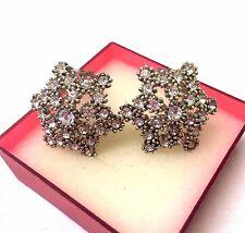 Vintage Signed Sphinx Snowflake Rhinestone Clip On Earrings