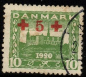 Denmark-Sc-B1-1921-5-ore-Red-Cross-surcharge-stamp-used-Free-Shipping