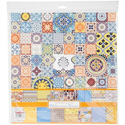 """Scrapberry/'s Mediterranean Dreams Paper Pack 12/""""x12/"""" 8//pkg-8 Double-sided"""
