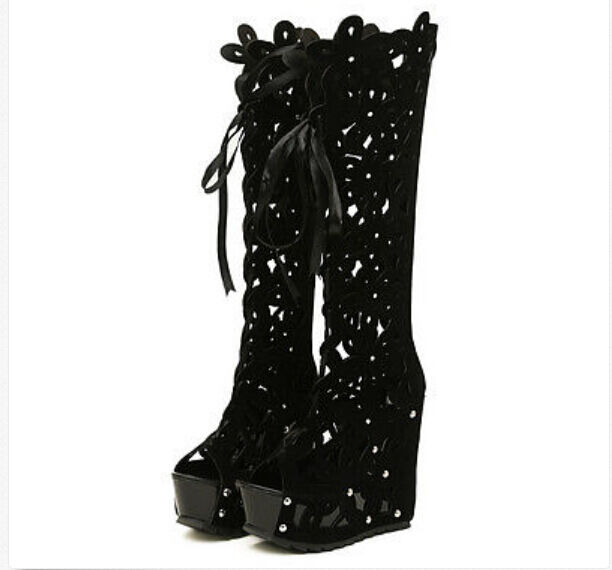 Stylish hollow out knee high boots summer open toe lace up wedges women shoes SZ
