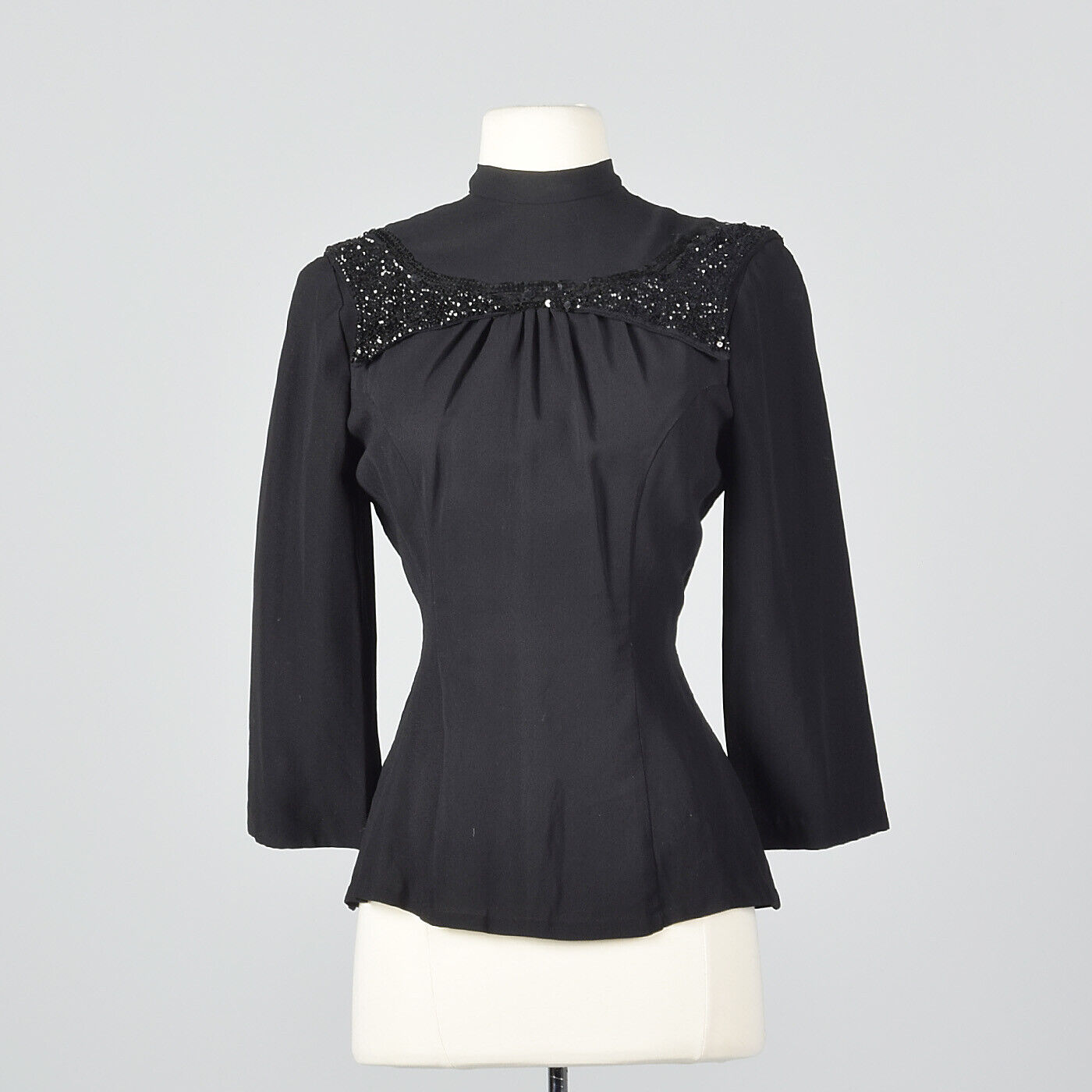 XS 1940s schwarz Fitted Blouse Sequin Trim Hourglass Cocktail Party NYE 50s VTG