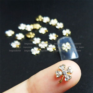 10pcs 3D Gold Clover Nail Art Decoration Rhinestones DIY Alloy Nail ...