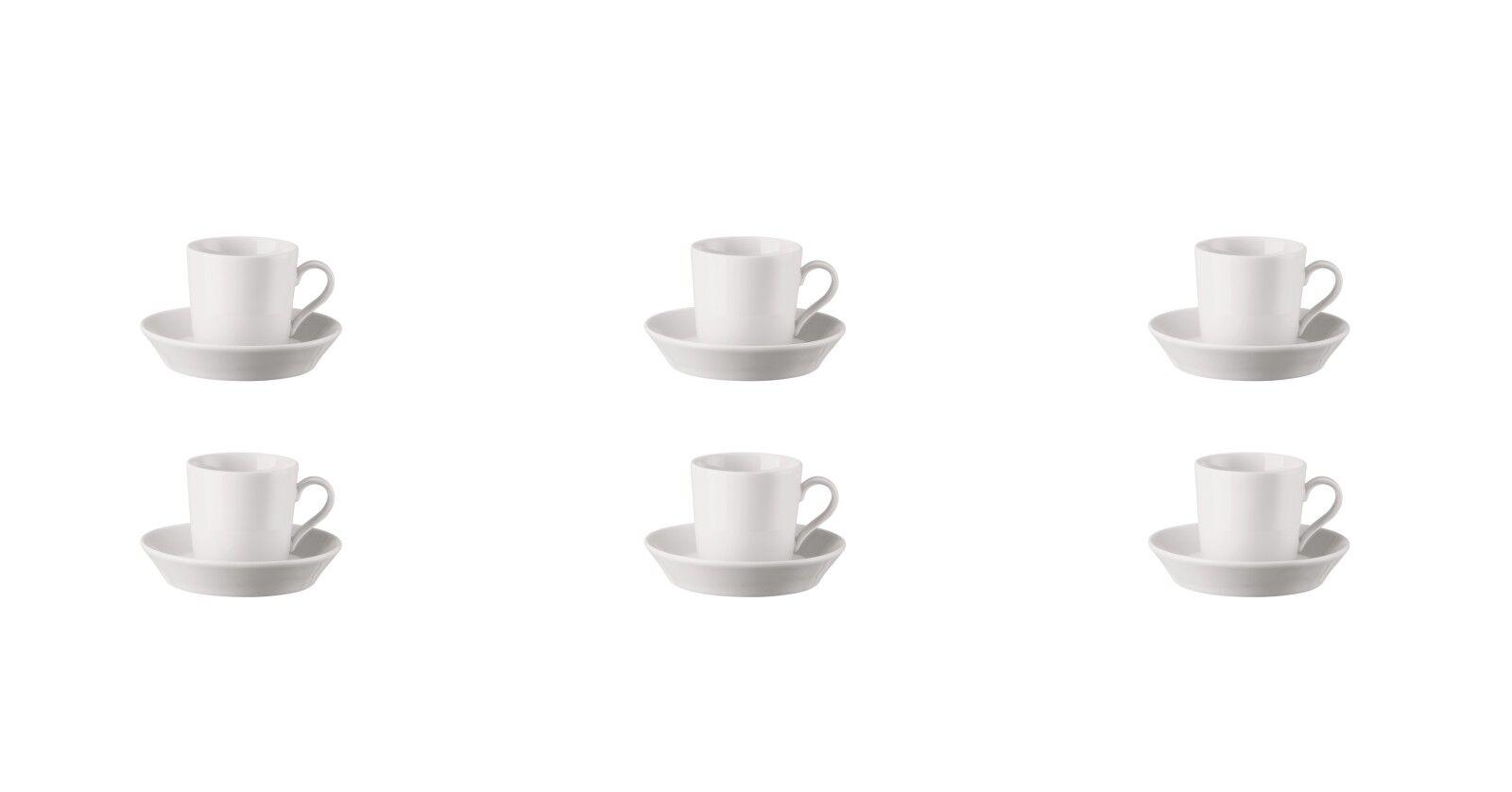 6 x Espresso-Set - Tasse + Untertasse - - - 12-tlg. - Tric Weiß - Arzberg a87553
