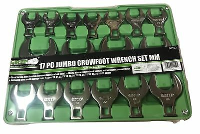 17pc Grip Metric Jumbo Crow Foot Wrenches Set Crowfoot 20-46mm Open End Mm 90152