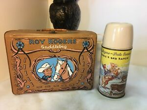 ROY ROGERS LUNCH BOX Brown Vinyl W/MATCHING THERMOS BOTTLE Vintage 1960's VN