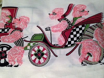 PINK POODLE AUTOS FUN VTG FABRIC
