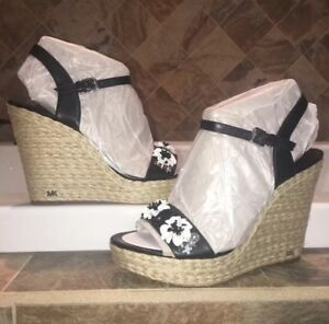 6d5af268fdb9 Image is loading NIB-MICHAEL-Michael-Kors-Jill-Floral-Sequined-Wedges-
