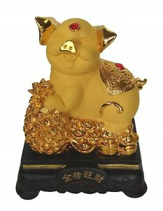 8-034-Chinese-Zodiac-Golden-Pig-Statue-w-Money-Coin-Figurine-for-Lunar-Year-of-Pig