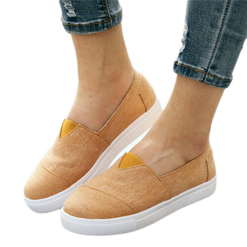 UK Women Ladies Canvas Casual Slip On Flat Shoes Pumps Trainers Loafers Sneakers