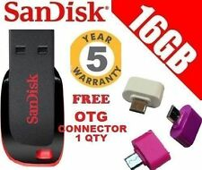 Sandisk 16GB Cruzer Blade Pendrive 16 GB + 5 Yrs Warnty +  FREE OTG CONNECTOR