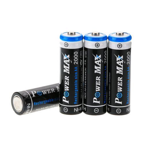 4x 2000mAh 1.2V POWER MAX AA NIMH Wiederaufladbare Batterie Battries Akkus