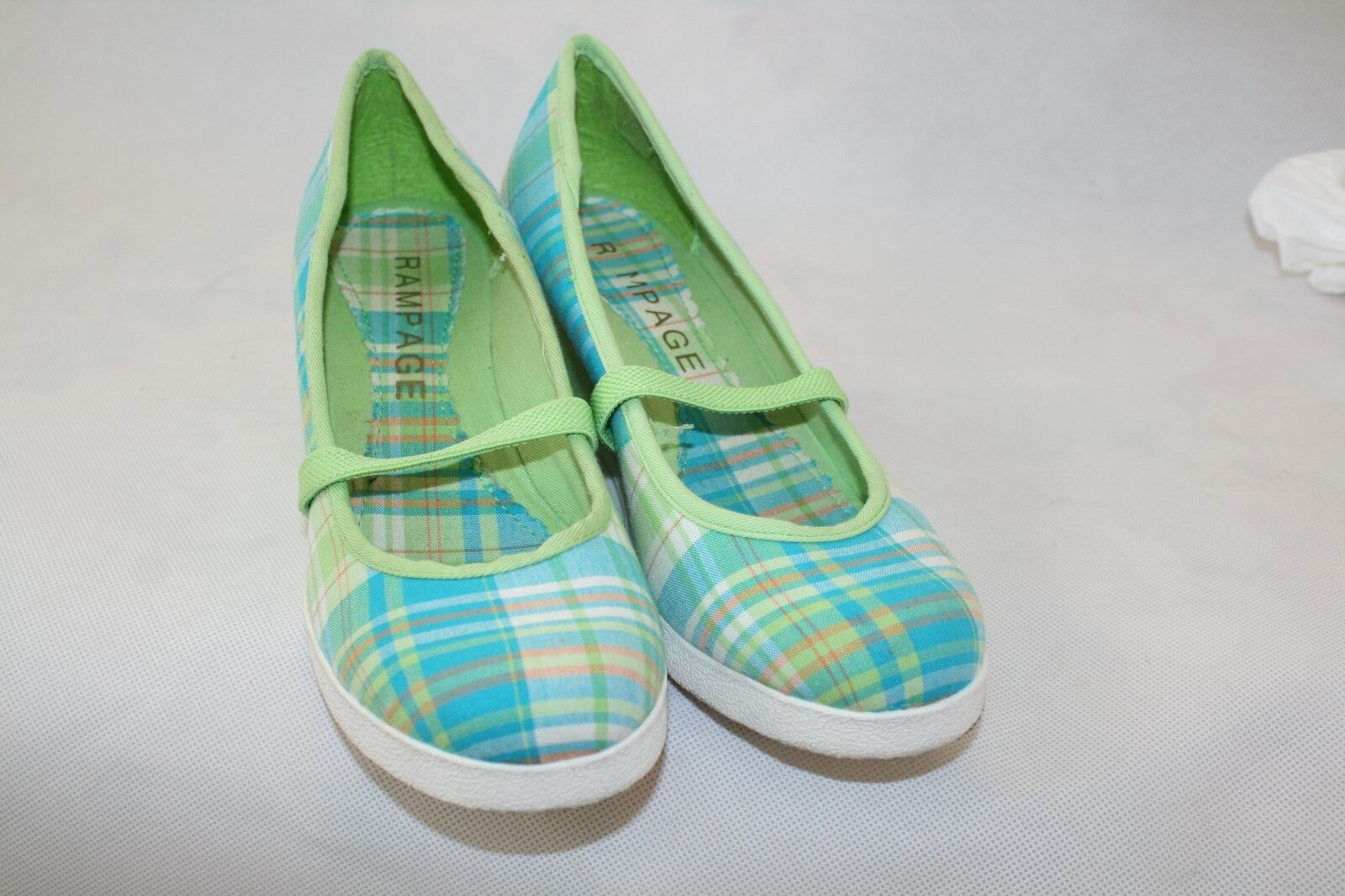 Rampage Green Blue Plaid Canvas Mary Women's Jane 2.5