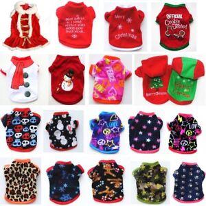 Pet-Dog-Santa-Shirt-Puppy-Christmas-Clothes-Warm-Jacket-Coat-Apparel-Costumes-US