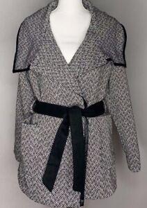 XHILARATION Women/'s GEOPrinted Faux Wool Wrap Belted Coat Jacket BLACK GRAY S-L