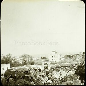 MAROC-Tanger-le-Marche-Maghreb-1904-Photo-Stereo-Grande-Plaque-Verre-VR9L5n3
